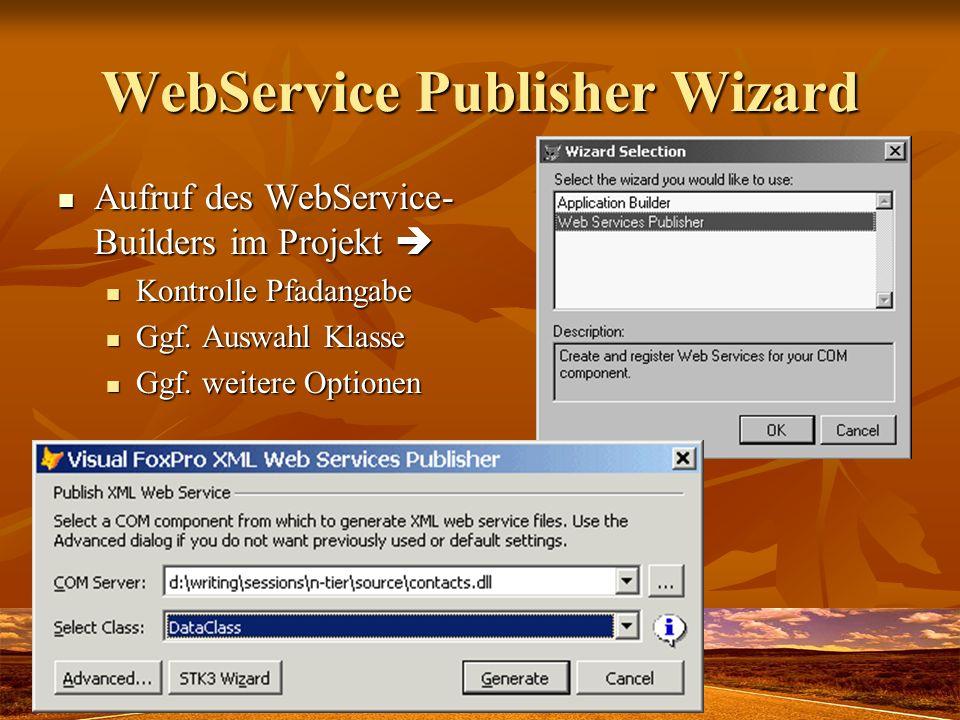 WebService Publisher Wizard Aufruf des WebService- Builders im Projekt Aufruf des WebService- Builders im Projekt Kontrolle Pfadangabe Kontrolle Pfada