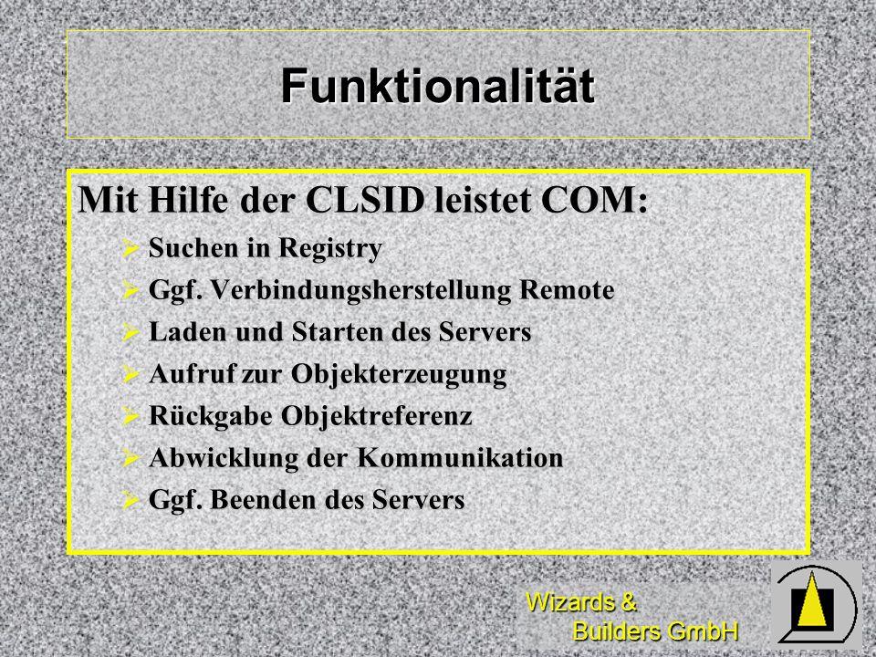 Wizards & Builders GmbH Funktionalität Mit Hilfe der CLSID leistet COM: Suchen in Registry Suchen in Registry Ggf. Verbindungsherstellung Remote Ggf.