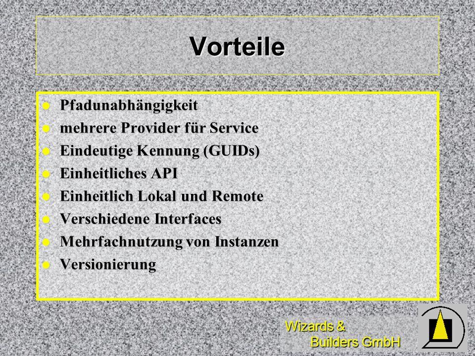Wizards & Builders GmbH Vorteile Pfadunabhängigkeit Pfadunabhängigkeit mehrere Provider für Service mehrere Provider für Service Eindeutige Kennung (G