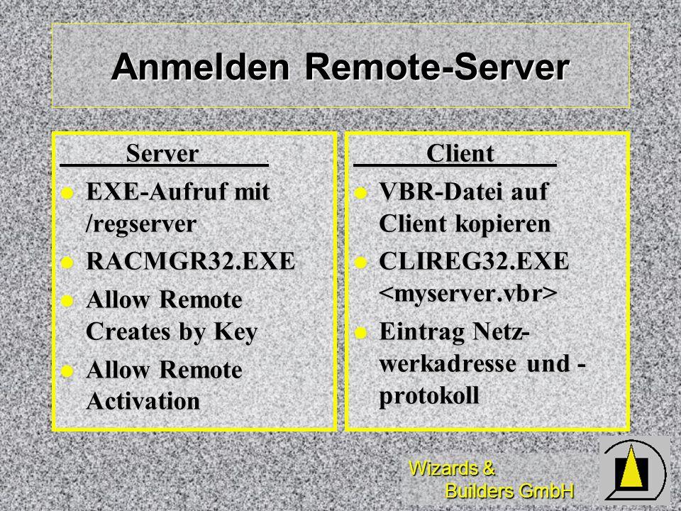Wizards & Builders GmbH Anmelden Remote-Server Server. Server. EXE-Aufruf mit /regserver EXE-Aufruf mit /regserver RACMGR32.EXE RACMGR32.EXE Allow Rem