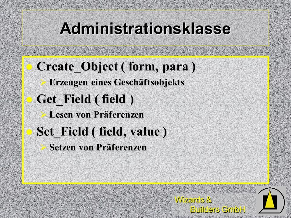 Wizards & Builders GmbH Administrationsklasse Create_Object ( form, para ) Create_Object ( form, para ) Erzeugen eines Geschäftsobjekts Erzeugen eines