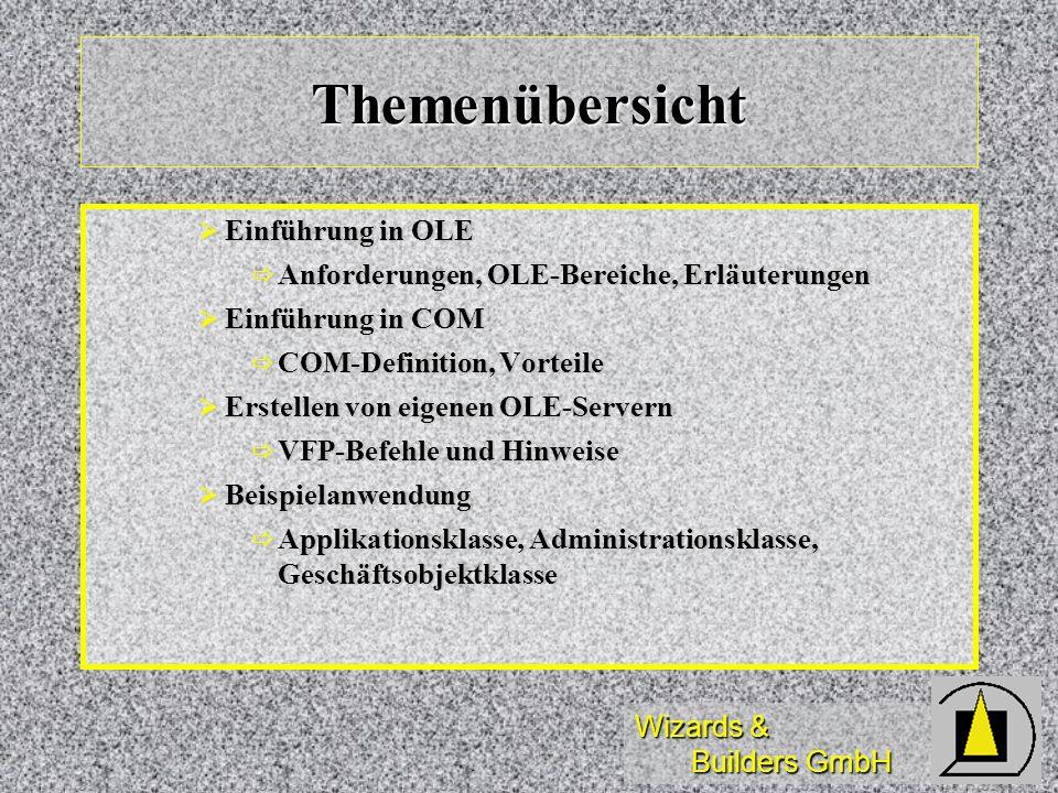 Wizards & Builders GmbH Themenübersicht Einführung in OLE Einführung in OLE Anforderungen, OLE-Bereiche, Erläuterungen Anforderungen, OLE-Bereiche, Er