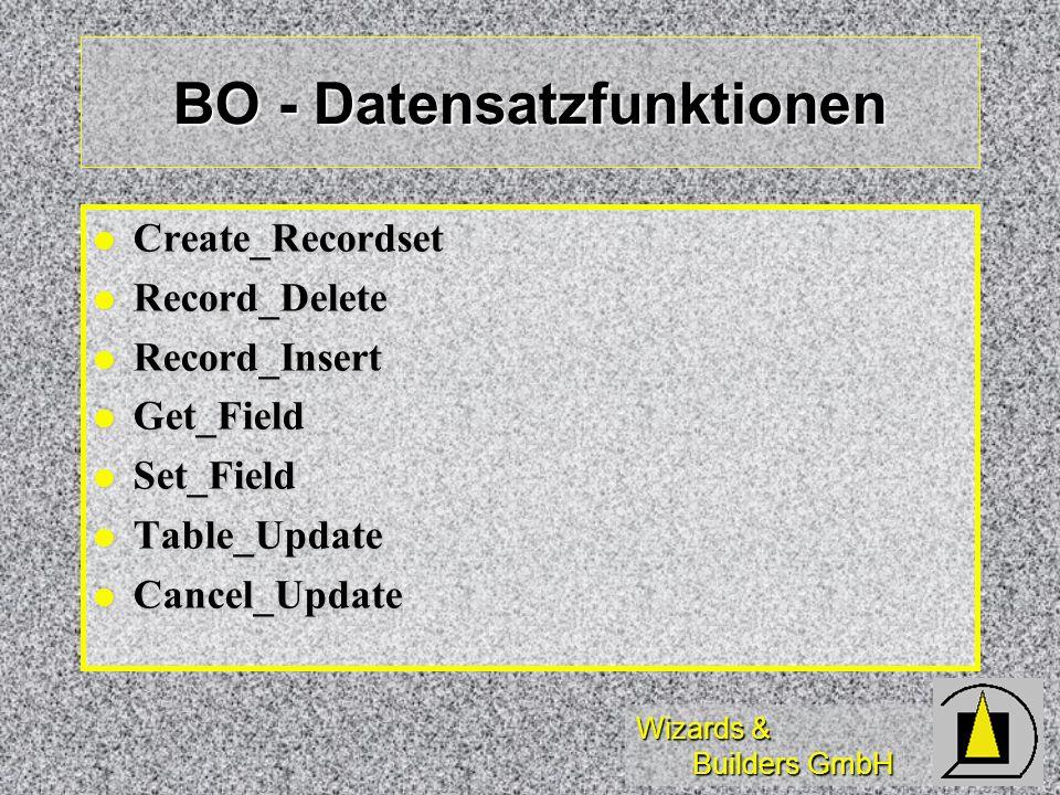 Wizards & Builders GmbH BO - Datensatzfunktionen Create_Recordset Create_Recordset Record_Delete Record_Delete Record_Insert Record_Insert Get_Field G