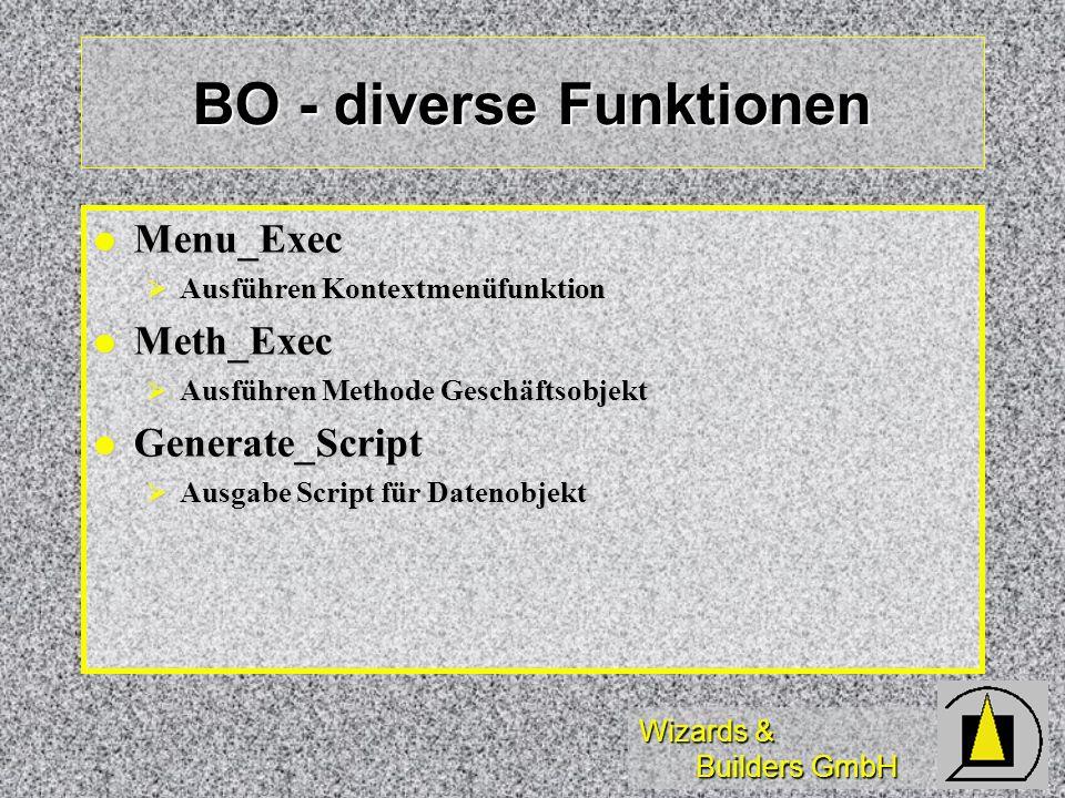 Wizards & Builders GmbH BO - diverse Funktionen Menu_Exec Menu_Exec Ausführen Kontextmenüfunktion Ausführen Kontextmenüfunktion Meth_Exec Meth_Exec Au
