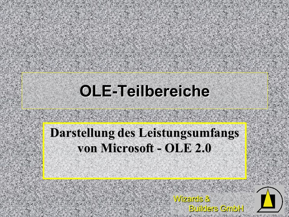 Wizards & Builders GmbH OLE-Teilbereiche Darstellung des Leistungsumfangs von Microsoft - OLE 2.0