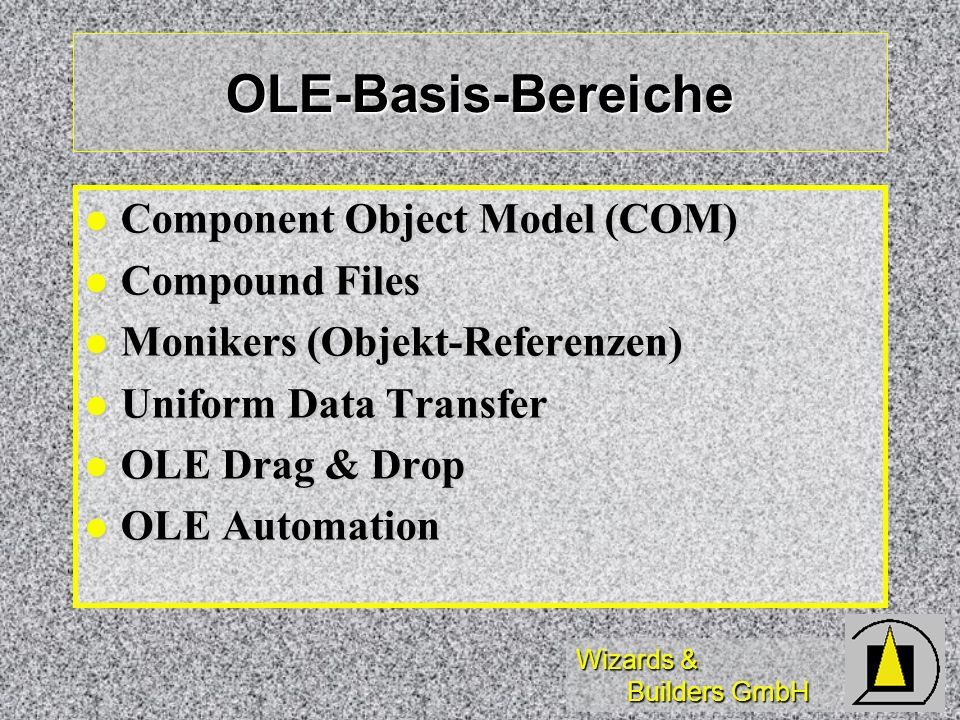 Wizards & Builders GmbH OLE-Basis-Bereiche Component Object Model (COM) Component Object Model (COM) Compound Files Compound Files Monikers (Objekt-Re