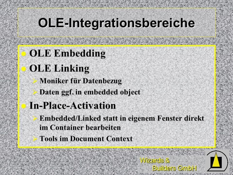 Wizards & Builders GmbH OLE-Integrationsbereiche OLE Embedding OLE Embedding OLE Linking OLE Linking Moniker für Datenbezug Moniker für Datenbezug Dat