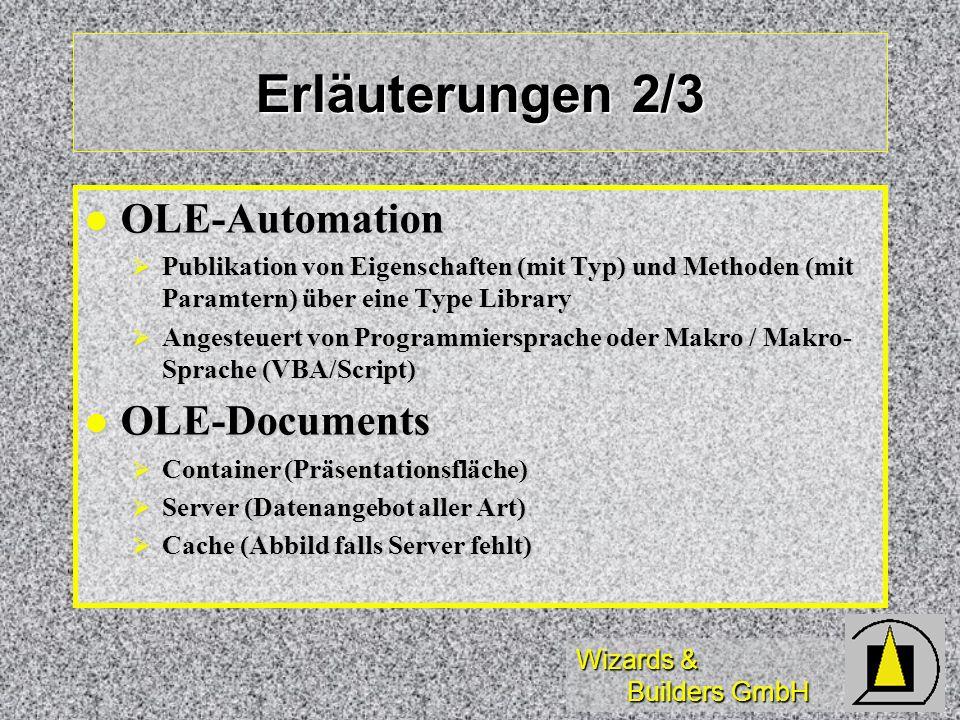 Wizards & Builders GmbH Erläuterungen 2/3 OLE-Automation OLE-Automation Publikation von Eigenschaften (mit Typ) und Methoden (mit Paramtern) über eine