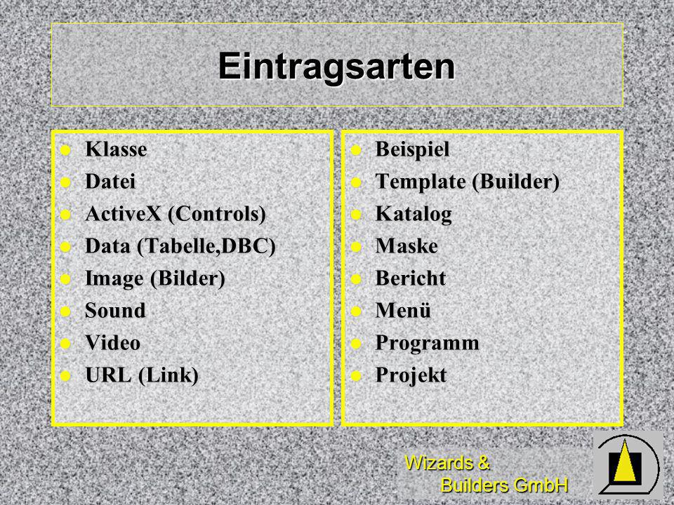 Wizards & Builders GmbH Eintragsarten Klasse Klasse Datei Datei ActiveX (Controls) ActiveX (Controls) Data (Tabelle,DBC) Data (Tabelle,DBC) Image (Bil