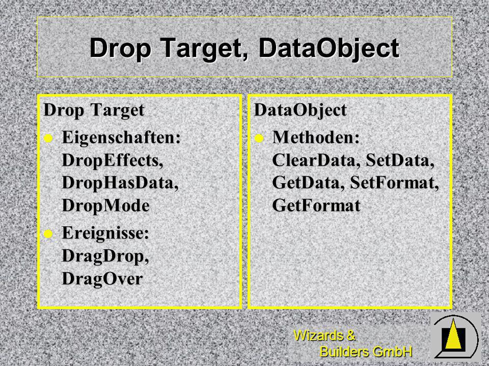 Wizards & Builders GmbH Drop Target, DataObject Drop Target Eigenschaften: DropEffects, DropHasData, DropMode Eigenschaften: DropEffects, DropHasData, DropMode Ereignisse: DragDrop, DragOver Ereignisse: DragDrop, DragOverDataObject Methoden: ClearData, SetData, GetData, SetFormat, GetFormat Methoden: ClearData, SetData, GetData, SetFormat, GetFormat