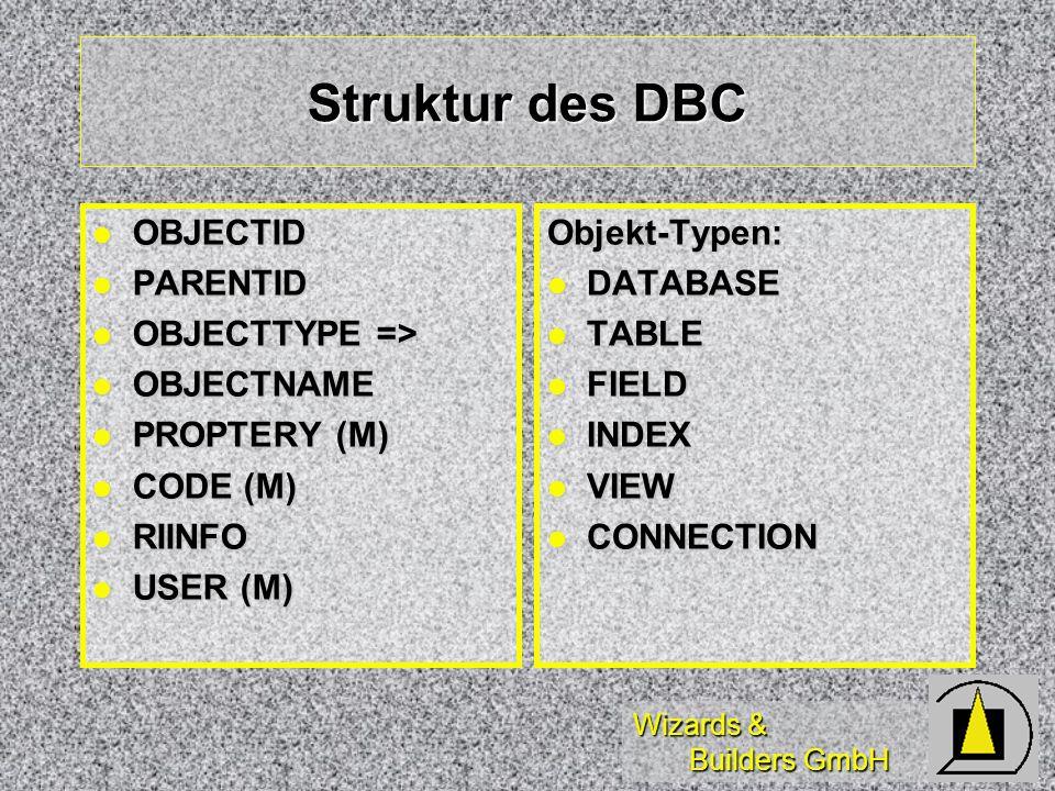 Wizards & Builders GmbH Struktur des DBC OBJECTID OBJECTID PARENTID PARENTID OBJECTTYPE => OBJECTTYPE => OBJECTNAME OBJECTNAME PROPTERY (M) PROPTERY (