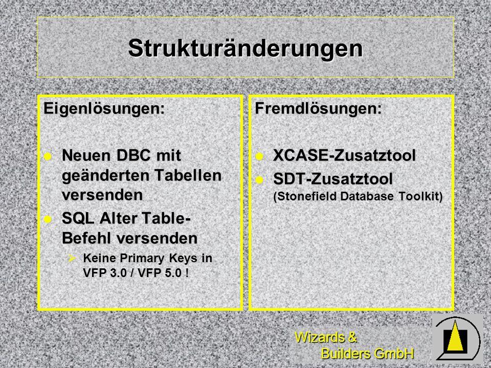 Wizards & Builders GmbH Strukturänderungen Eigenlösungen: Neuen DBC mit geänderten Tabellen versenden Neuen DBC mit geänderten Tabellen versenden SQL
