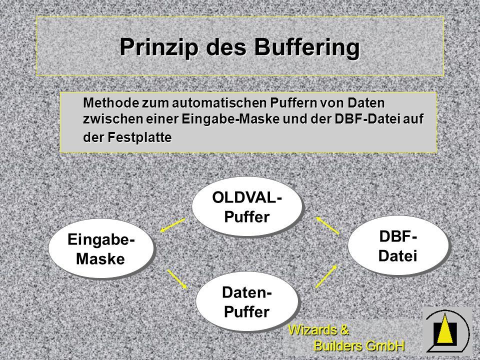 Wizards & Builders GmbH Prinzip des Buffering OLDVAL- Puffer OLDVAL- Puffer Methode zum automatischen Puffern von Daten zwischen einer Eingabe-Maske u