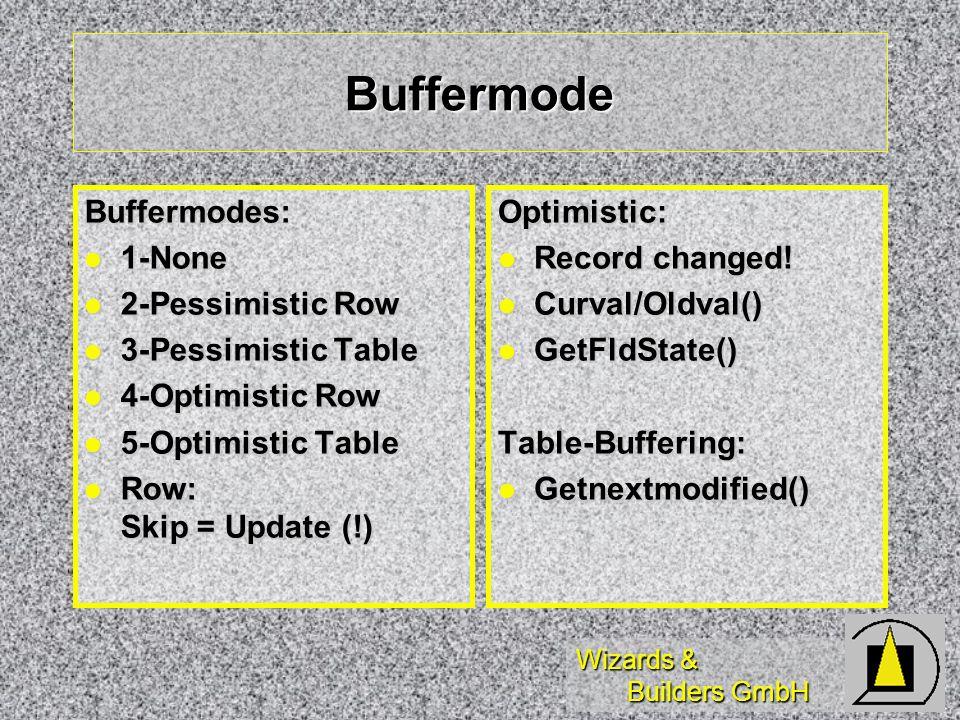 Wizards & Builders GmbH Buffermode Buffermodes: 1-None 1-None 2-Pessimistic Row 2-Pessimistic Row 3-Pessimistic Table 3-Pessimistic Table 4-Optimistic