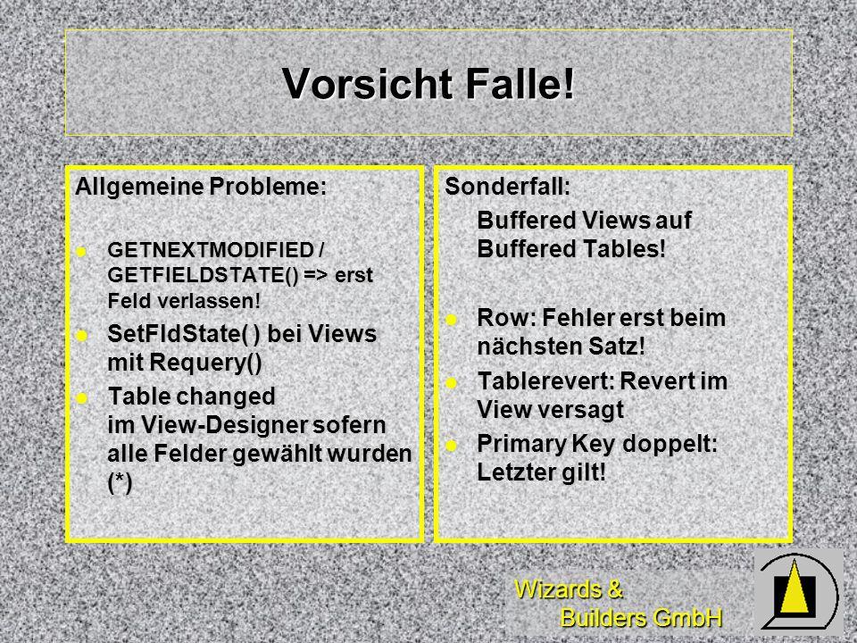 Wizards & Builders GmbH Vorsicht Falle! Allgemeine Probleme: GETNEXTMODIFIED / GETFIELDSTATE() => erst Feld verlassen! GETNEXTMODIFIED / GETFIELDSTATE