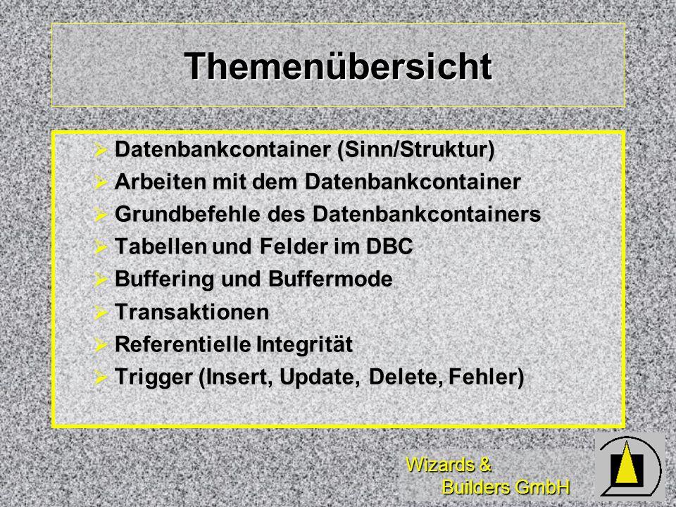 Wizards & Builders GmbH Themenübersicht Datenbankcontainer (Sinn/Struktur) Datenbankcontainer (Sinn/Struktur) Arbeiten mit dem Datenbankcontainer Arbe