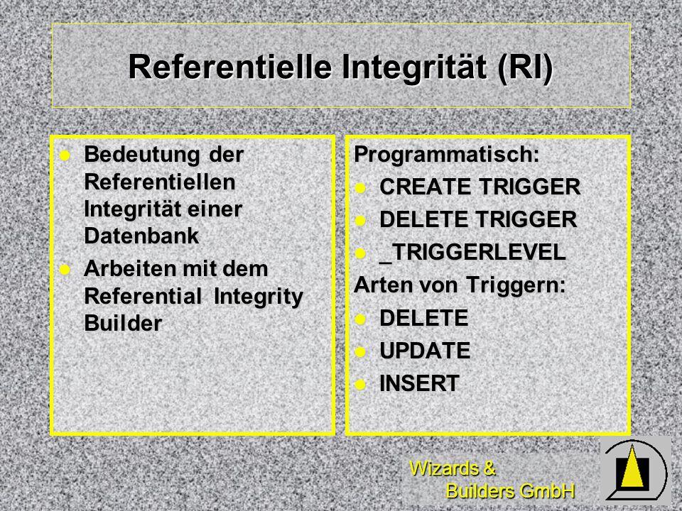 Wizards & Builders GmbH Referentielle Integrität (RI) Programmatisch: CREATE TRIGGER CREATE TRIGGER DELETE TRIGGER DELETE TRIGGER _TRIGGERLEVEL _TRIGG