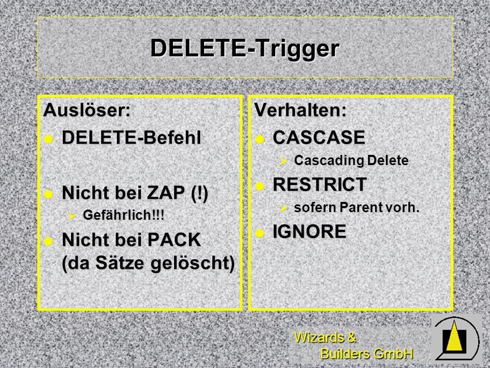 Wizards & Builders GmbH DELETE-Trigger Auslöser: DELETE-Befehl DELETE-Befehl Nicht bei ZAP (!) Nicht bei ZAP (!) Gefährlich!!! Gefährlich!!! Nicht bei