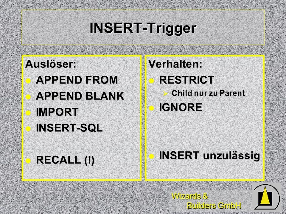 Wizards & Builders GmbH INSERT-Trigger Auslöser: APPEND FROM APPEND FROM APPEND BLANK APPEND BLANK IMPORT IMPORT INSERT-SQL INSERT-SQL RECALL (!) RECA