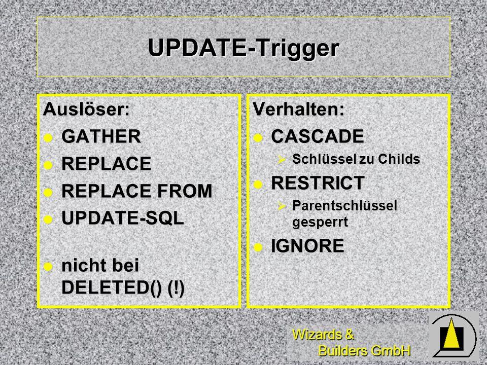 Wizards & Builders GmbH UPDATE-Trigger Auslöser: GATHER GATHER REPLACE REPLACE REPLACE FROM REPLACE FROM UPDATE-SQL UPDATE-SQL nicht bei DELETED() (!)