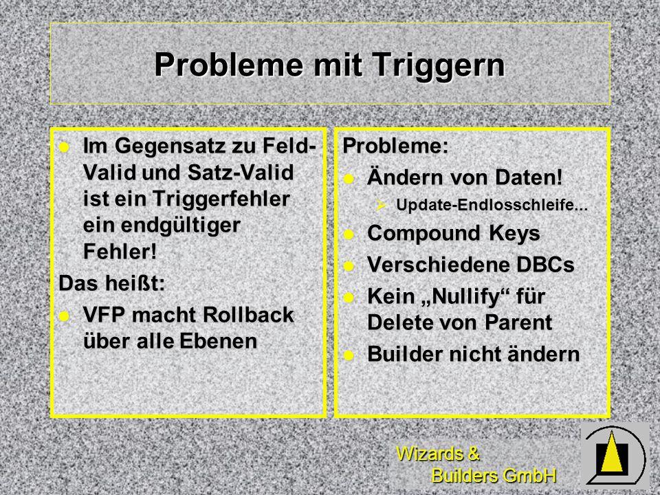 Wizards & Builders GmbH Probleme mit Triggern Im Gegensatz zu Feld- Valid und Satz-Valid ist ein Triggerfehler ein endgültiger Fehler! Im Gegensatz zu