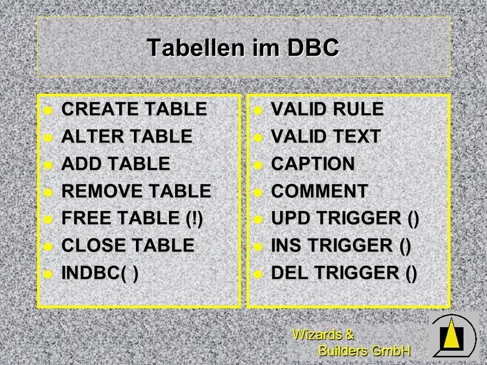 Wizards & Builders GmbH Tabellen im DBC CREATE TABLE CREATE TABLE ALTER TABLE ALTER TABLE ADD TABLE ADD TABLE REMOVE TABLE REMOVE TABLE FREE TABLE (!)