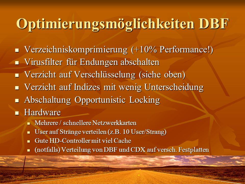Optimierungsmöglichkeiten DBF Verzeichniskomprimierung (+10% Performance!) Verzeichniskomprimierung (+10% Performance!) Virusfilter für Endungen absch