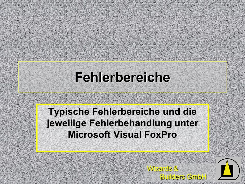 Wizards & Builders GmbH Fehlerbereiche Typische Fehlerbereiche und die jeweilige Fehlerbehandlung unter Microsoft Visual FoxPro