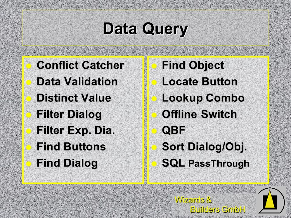 Wizards & Builders GmbH Data Query Conflict Catcher Conflict Catcher Data Validation Data Validation Distinct Value Distinct Value Filter Dialog Filter Dialog Filter Exp.