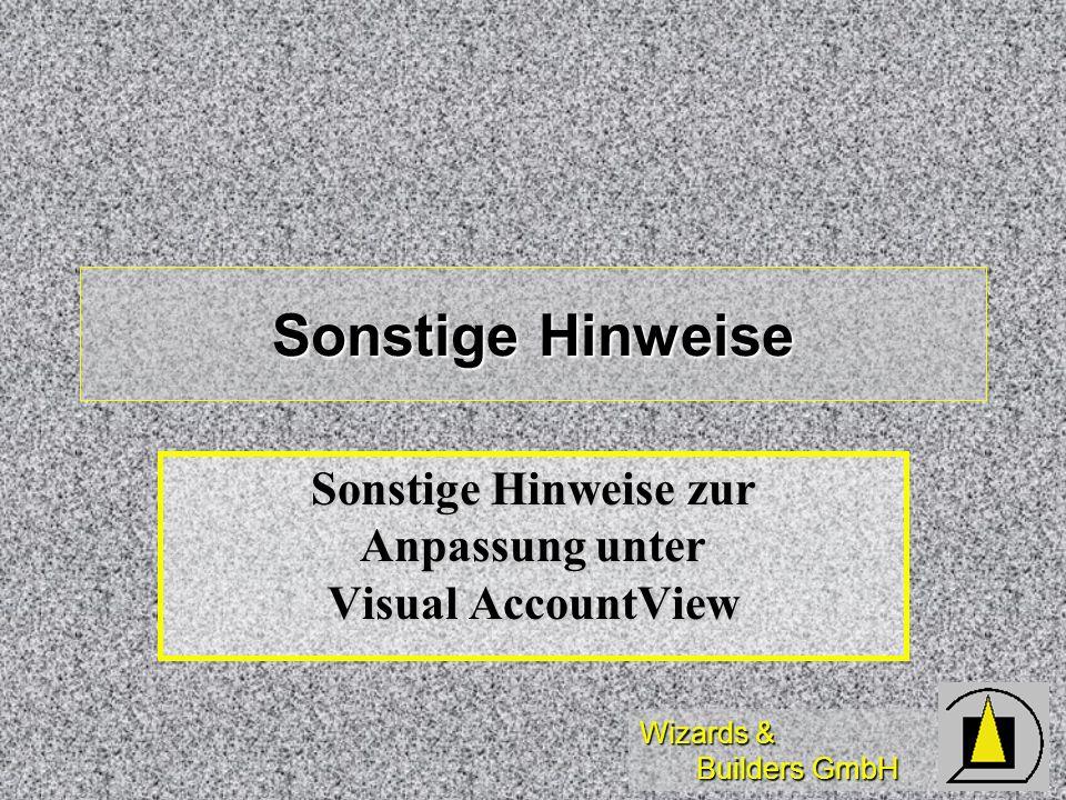 Wizards & Builders GmbH Sonstige Hinweise Sonstige Hinweise zur Anpassung unter Visual AccountView
