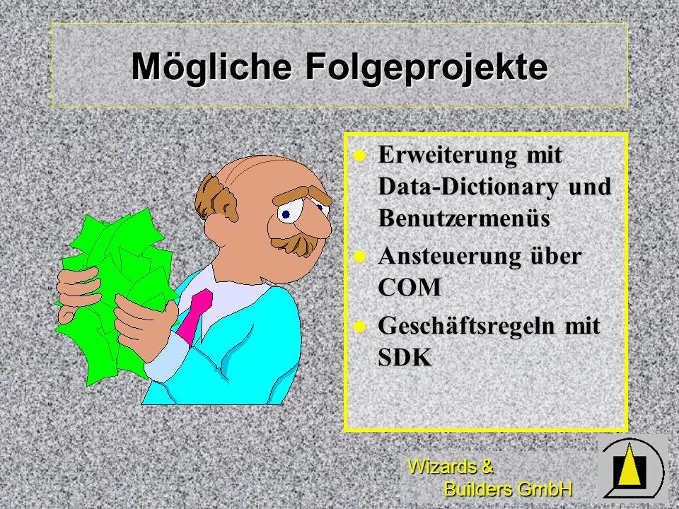Wizards & Builders GmbH Mögliche Folgeprojekte Erweiterung mit Data-Dictionary und Benutzermenüs Erweiterung mit Data-Dictionary und Benutzermenüs Ans