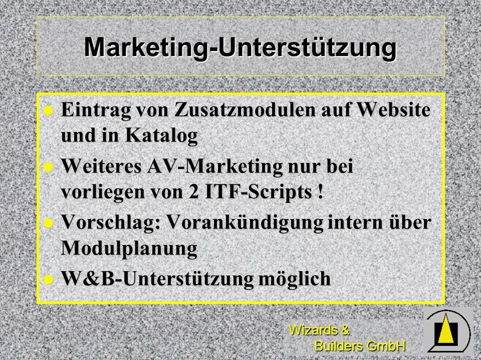 Wizards & Builders GmbH Marketing-Unterstützung Eintrag von Zusatzmodulen auf Website und in Katalog Eintrag von Zusatzmodulen auf Website und in Kata