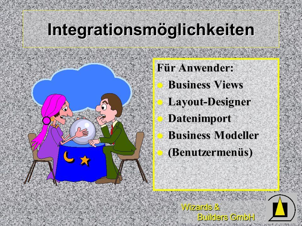 Wizards & Builders GmbH Integrationsmöglichkeiten Für Anwender: Business Views Business Views Layout-Designer Layout-Designer Datenimport Datenimport