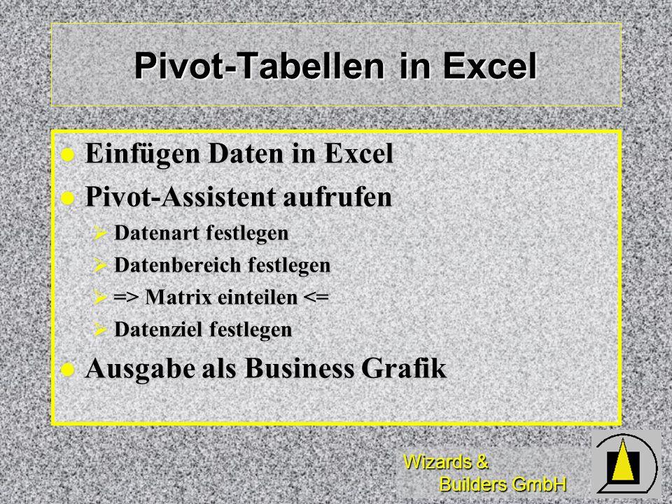 Wizards & Builders GmbH Pivot-Tabellen in Excel Einfügen Daten in Excel Einfügen Daten in Excel Pivot-Assistent aufrufen Pivot-Assistent aufrufen Date