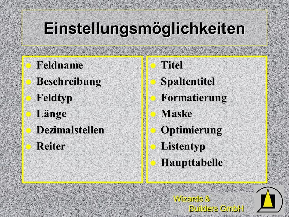 Wizards & Builders GmbH Einstellungsmöglichkeiten Feldname Feldname Beschreibung Beschreibung Feldtyp Feldtyp Länge Länge Dezimalstellen Dezimalstelle