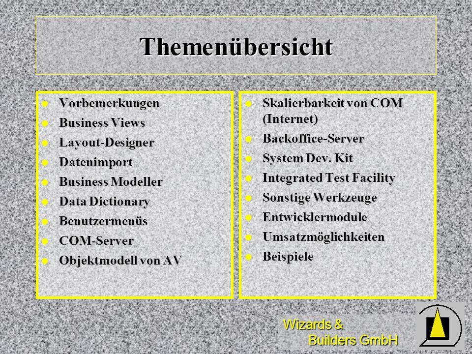 Wizards & Builders GmbH Themenübersicht Vorbemerkungen Vorbemerkungen Business Views Business Views Layout-Designer Layout-Designer Datenimport Dateni