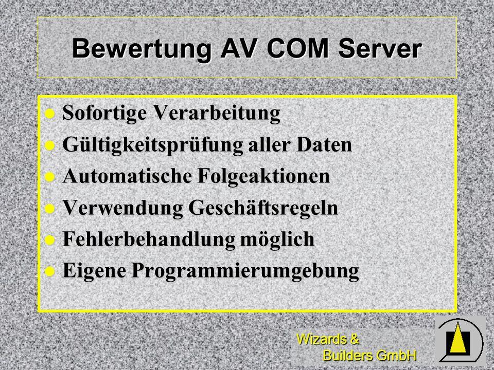 Wizards & Builders GmbH Bewertung AV COM Server Sofortige Verarbeitung Sofortige Verarbeitung Gültigkeitsprüfung aller Daten Gültigkeitsprüfung aller