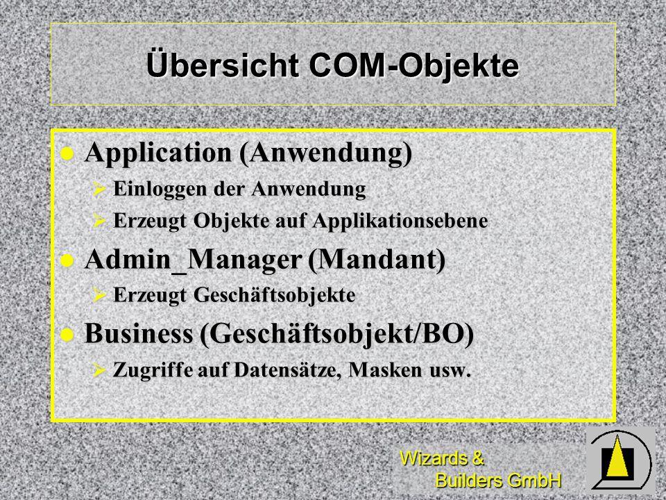 Wizards & Builders GmbH Übersicht COM-Objekte Application (Anwendung) Application (Anwendung) Einloggen der Anwendung Einloggen der Anwendung Erzeugt