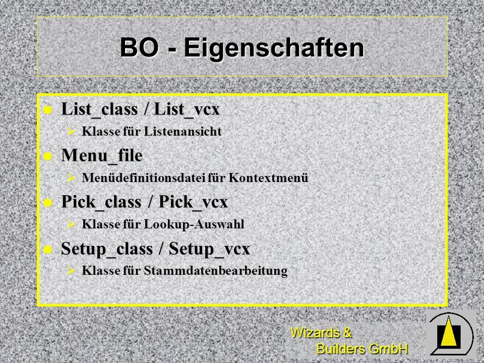 Wizards & Builders GmbH BO - Eigenschaften List_class / List_vcx List_class / List_vcx Klasse für Listenansicht Klasse für Listenansicht Menu_file Men