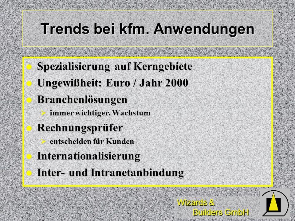 Wizards & Builders GmbH Trends bei kfm. Anwendungen Spezialisierung auf Kerngebiete Spezialisierung auf Kerngebiete Ungewißheit: Euro / Jahr 2000 Unge