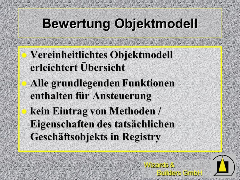 Wizards & Builders GmbH Bewertung Objektmodell Vereinheitlichtes Objektmodell erleichtert Übersicht Vereinheitlichtes Objektmodell erleichtert Übersic