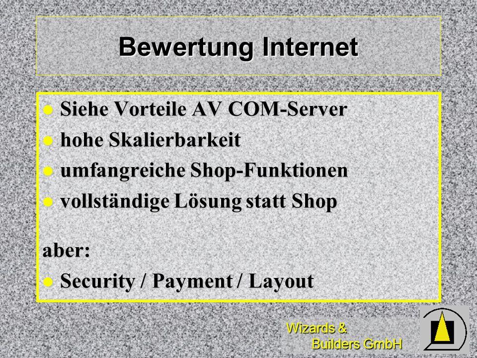 Wizards & Builders GmbH Bewertung Internet Siehe Vorteile AV COM-Server Siehe Vorteile AV COM-Server hohe Skalierbarkeit hohe Skalierbarkeit umfangrei
