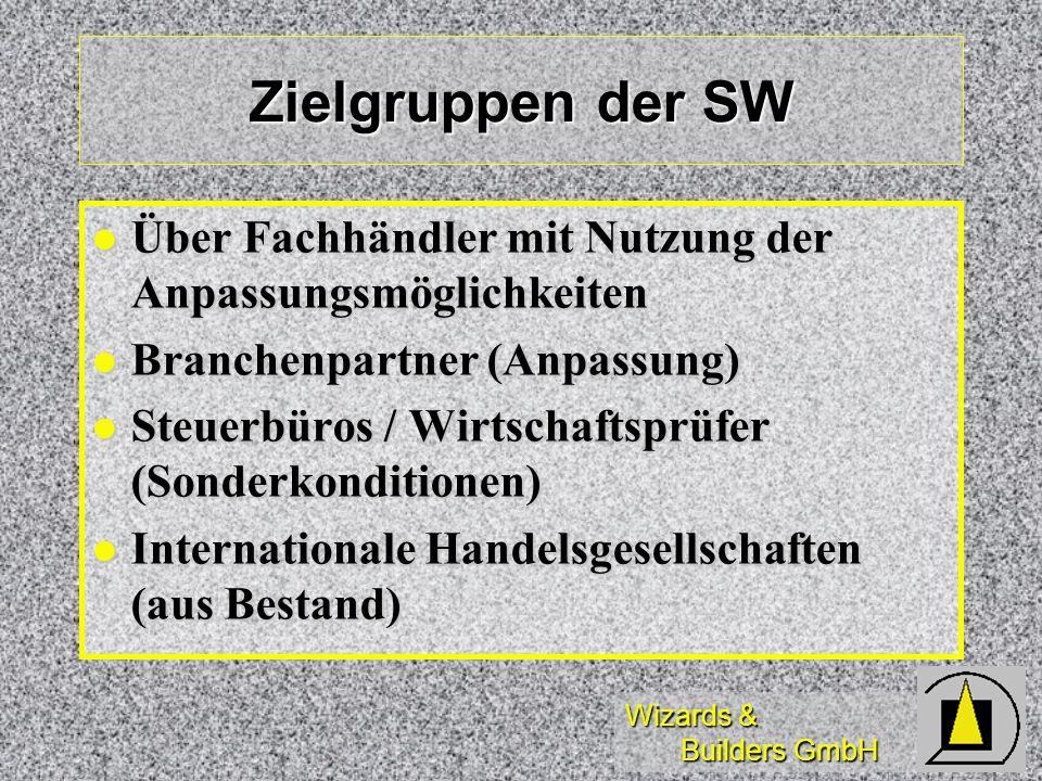 Wizards & Builders GmbH Zielgruppen der SW Über Fachhändler mit Nutzung der Anpassungsmöglichkeiten Über Fachhändler mit Nutzung der Anpassungsmöglich