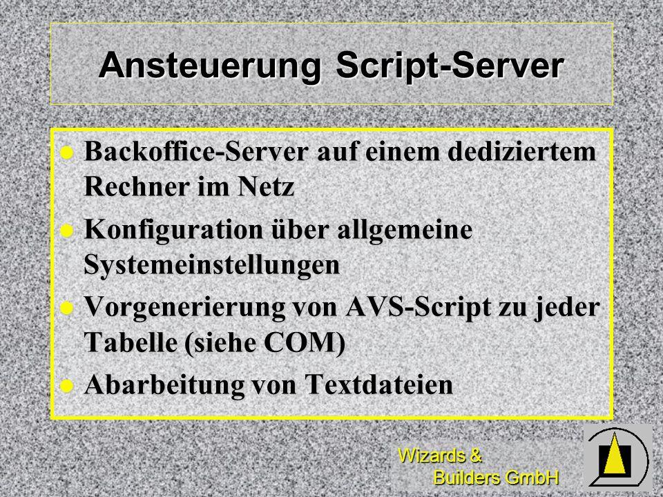 Wizards & Builders GmbH Ansteuerung Script-Server Backoffice-Server auf einem dediziertem Rechner im Netz Backoffice-Server auf einem dediziertem Rech