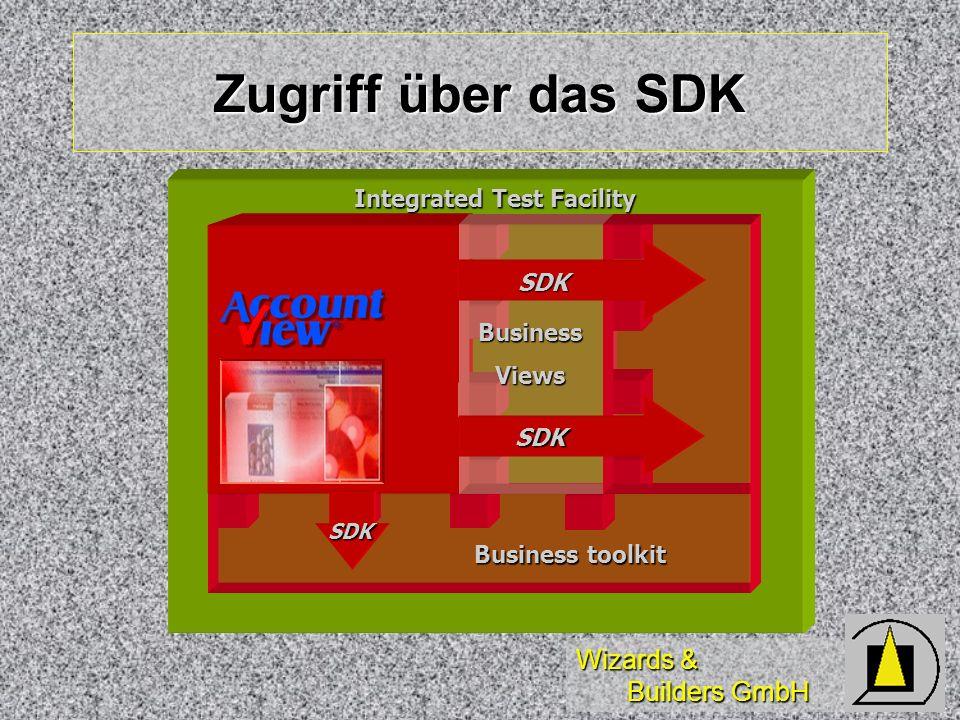 Wizards & Builders GmbH Zugriff über das SDK BusinessViews Business toolkit SDK SDK SDK Integrated Test Facility