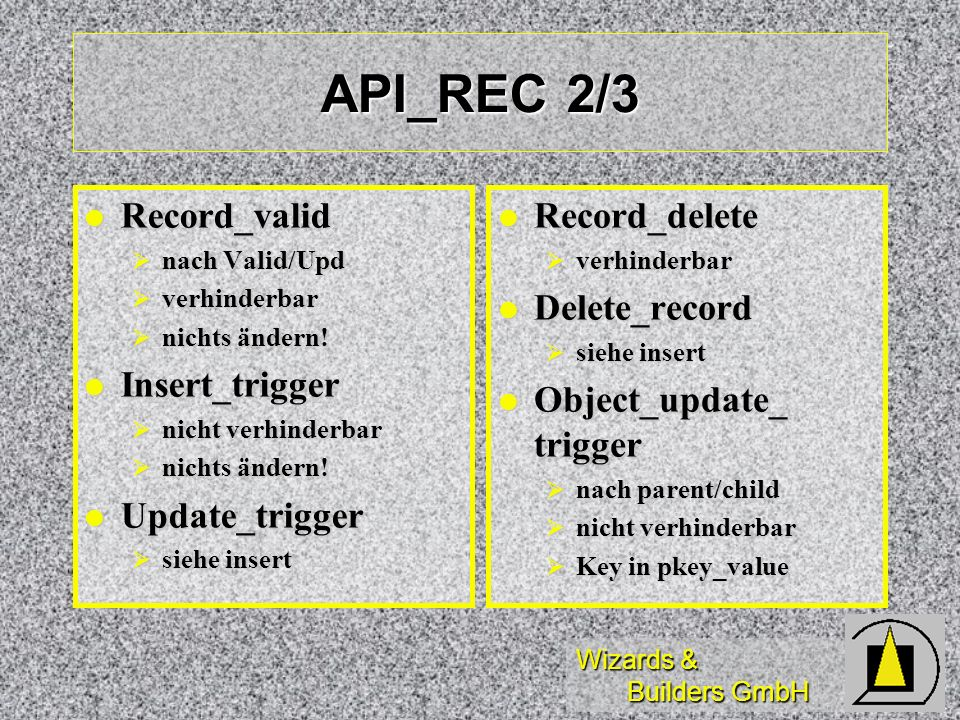 Wizards & Builders GmbH API_REC 2/3 Record_valid Record_valid nach Valid/Upd nach Valid/Upd verhinderbar verhinderbar nichts ändern! nichts ändern! In