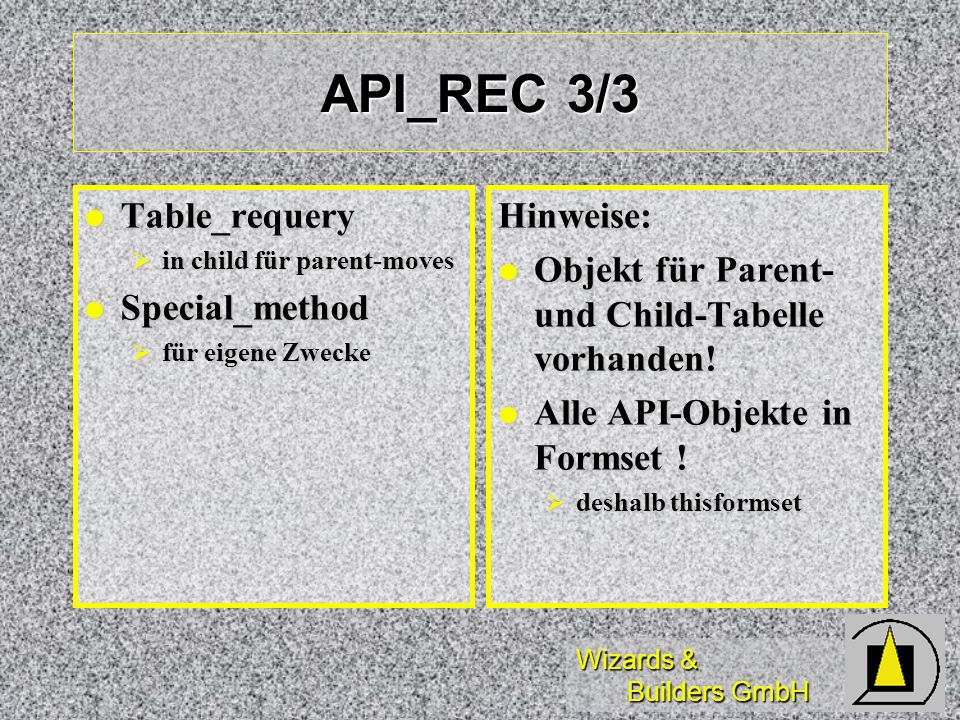 Wizards & Builders GmbH API_REC 3/3 Table_requery Table_requery in child für parent-moves in child für parent-moves Special_method Special_method für