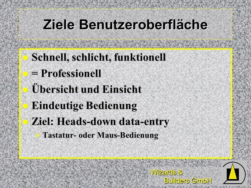 Wizards & Builders GmbH Ziele Benutzeroberfläche Schnell, schlicht, funktionell Schnell, schlicht, funktionell = Professionell = Professionell Übersic