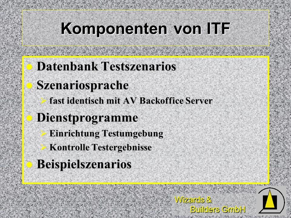 Wizards & Builders GmbH Komponenten von ITF Datenbank Testszenarios Datenbank Testszenarios Szenariosprache Szenariosprache fast identisch mit AV Back