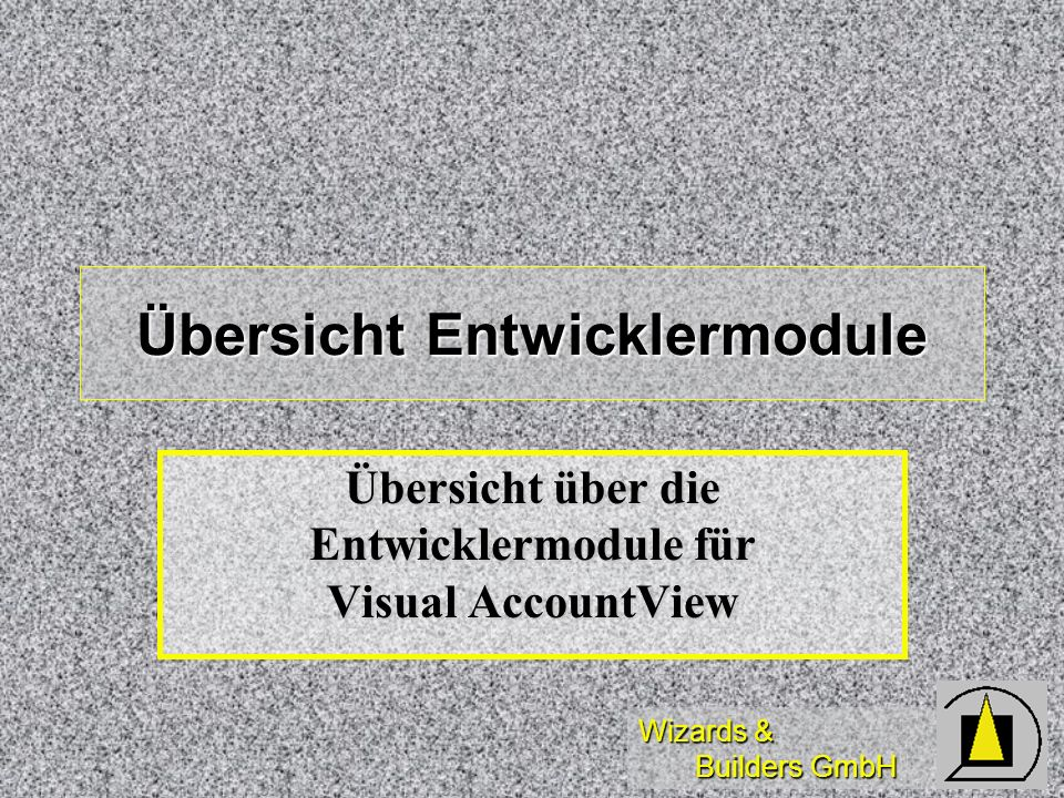 Wizards & Builders GmbH Übersicht Entwicklermodule Übersicht über die Entwicklermodule für Visual AccountView